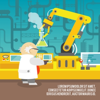 Robotic arm assemble line mechanic manufacturing with scientist factory robot operator production concept vector illustration