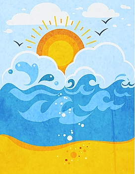 Sea Waves Abstract Background Sea waves abstract background with sun in clouds seagulls and sandy beach flat vector illustration
