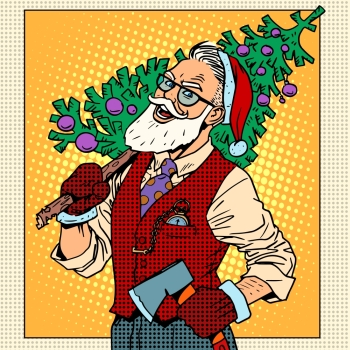 Hipster Santa Claus with Christmas tree pop art retro style Hipster Santa Claus with Christmas tree