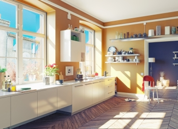 the modern kitchen interior 3d render concept
