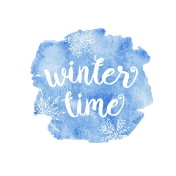 Winter time typographic poster Vector hand drawn phrase Vector ink painted lettering on blue watercolor background Banner with phrase for poster