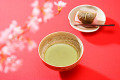 Bowl Of Green Tea With Japanese Confectionary