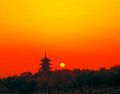 Silhouette Of Old Temple At Sunset