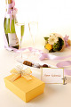 Chocolate Truffles And Champagne On Table