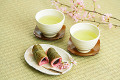 Japanese Green Tea Served With Small Sweets
