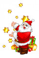 Santa Claus with stars and gift boxes