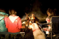 A group of girls around a campfire with dog