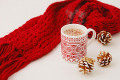 Hot cocoa and red scarf