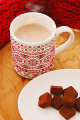 Hot cocoa chocolate and red scarf