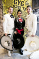 Guzman y Gomez opens its First Restaurant in Japan Mexicans dressed as mariachi pose for the cameras during a pre-opening event of the new restaurant  Guzman y Gomez  in the Harajuku shopping area of Shibuya on April 27  2015  Tokyo  Japan. The restaurant serving burritos and Mexican fast-food was founded by Steven Marks in Australia  and named Guzman y Gomez  GYG  to honor old friends with the goal of introducing Mexican food and Latin culture to the world. It will open its first Japanese branch to the public on April 29th with a special  Free Burrito Day  promotion.  Photo by Rodrigo Reyes Marin/AFLO
