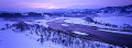 Country snowscape with river  Niigata  Japan