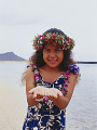 Little hula girl with hands cupped
