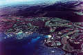 Cityscape coastline of Big Island  Hawaii  aerial view