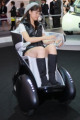 Tokyo Motor Show October 21  2009  Makuhari  Tokyo - The i-Real  Toyota rsquo;s new mobility concept personal transport  is demonstrated at the 2009 Tokyo Motor Show in Makuhari  east of Tokyo  on Wednesday  October 21  2009. Using three wheels - two in front and one back - the seat moves from an upright position to a lying down one depending on the speed. In low-speed mode  the wheelbase shortens to maneuver naturally among pedestrians at similar eyesite height and in high-speed mode  the wheelbase lengthens to provide a lower center of gravity and better driving performance.  Photo by Yusuke Nakanishi/AFLO   1090  -mis-