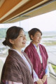 Japanese women wearing yukata at a traditional hotel