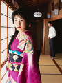 Japanese woman and man  focus on Japanese woman in kimono