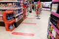 Virus Outbreak Spain General view of Supermarket floor that instructs to leave a distance of 1m from others customer due to the emergency declaration due to the Corona Virus  COVID-19  outbreak in Madrid  Spain  MARCH 26  2020.  Photo by Mutsu Kawamori/AFLO