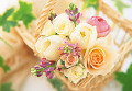 Pink And White Flowers In A Basket