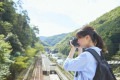 Young Japanese woman traveling in Kyoto