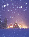 Back Lit Old Japanese Style House In The Snow