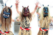 Namahage event at Hakkeijima Sea Paradise January 12 2019 Yokohama Japan  demon masked men called Namahages from Akita prefecture northern Japan