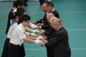 Japan holds annual official service for war victims on 72nd anniversary of the end of World War II August 15 2017 School children give flowers to re