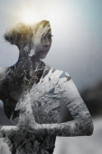 Double exposure of Asian woman practicing yoga and snowy mountainscape