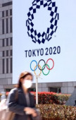 Japan s share prices rebounded over 19 000 yen level March 25 2020 Tokyo Japan  A pedestrian passes before a logo of Tokyo 2020 Olympic Game