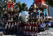 2019 Rugby World Cup  Pool C Argentina vs USA Fans take pictures with traditional Japanese festival floats before the Pool C Argentina vs USA game
