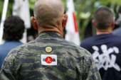 72nd Anniversary of Japan s Surrender in WWII at Yasukuni Shrine Japanese nationalists dressed in military uniform visit Yasukuni Shrine to pay
