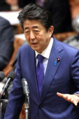 Prime Minister Shinzo Abe attends Lower House s budget committee session February 5 2020 Tokyo Japan  Japanese Prime Minister Shinzo Abe ans