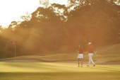 Japanese golfers on course