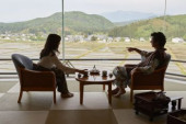 Japanese father and daughter at a traditional hotel