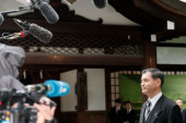 72nd Anniversary of Japan s Surrender in WWII at Yasukuni Shrine Japanese politician Masahiko Shibayama answers questions from the press at Yasu