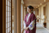 Japanese woman wearing yukata at a traditional hotel