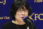 Yasunori and Junko Kagoike speaks at FCCJ Junko Kagoike wife of Yasunori Kagoike former head of Moritomo Gakuen speaks during a news conference at Th