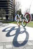 Tokyo 2020 preview MARCH 26 2020 Olympic rings are displayed at Japan Sport Olympic Square in Tokyo Japan  Photo by Kenichi Arai