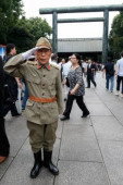 72nd Anniversary of Japan s Surrender in WWII at Yasukuni Shrine A man dressed as a Japanese imperial army soldier visits Yasukuni Shrine to pay