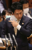 Prime Minister Shinzo Abe attends Upper House s audit committee session April 1 2020 Tokyo Japan  Japanese Environment Minister Shinjiro Koi