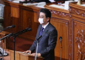 Prime Minister Shinzo Abe delivers a speech at Lower House s plenary session at the National Diet April 2 2020 Tokyo Japan  Japanese Prime M