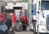 March 15 2020 MLB Tempe Arizona United States Los Angeles Angels team staffs work next to trailer following the cancellation of spring traini