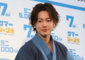 Summer Jumbo Lottery event July 2 2019 Tokyo Japan  Japanese actor Takeru Sato in yukata summer kimono attends a promotional event for the 700 mi