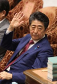 Japanese Prime Minister Shinzo Abe attends Lower Hoise s budget session February 12 2020 Tokyo Japan  Japanese Prime Minister Shinzo Abe rai