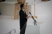 Japan holds annual official service for war victims on 72nd anniversary of the end of World War II August 15 2017 Prime Minister Shinzo Abe delivers