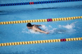 Japanese swimming athlete at the pool