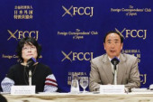 Yasunori and Junko Kagoike speaks at FCCJ L to R Junko Kagoike and Yasunori Kagoike former head of Moritomo Gakuen speak during a news conference at