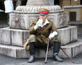 Japan remembers war dead at Yasukuni Shrine August 15 2017 Tokyo Japan  An elderly man in costume of Imperial Army takes a rest at the controversi