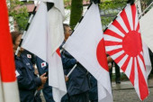 72nd Anniversary of Japan s Surrender in WWII at Yasukuni Shrine Japanese nationalists dressed in military uniform hold war flags of the Imperia
