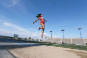 Long jump athlete on the track
