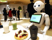 Pepper PARLOR robot cafe in Tokyo December  2019 Tokyo Japan  Softbank s humanoid robot Pepper attends customers at the Pepper PARLOR cafe
